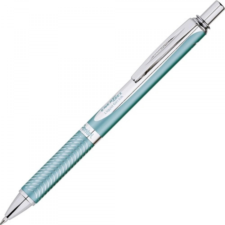 Pentel EnerGel Alloy RT Premium Liquid Gel Pen (0.7mm) - Aquamarine Barrel, Black Ink
