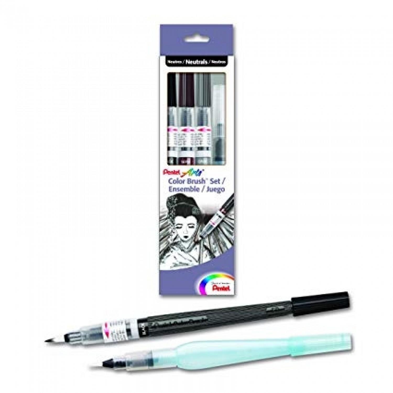 Pentel Arts Color Brush Set - Black, Gray, Sepia, Aquash Water Brush Box Set
