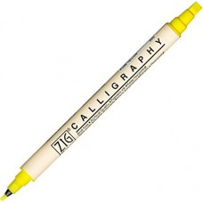 Zig Double Calligraphy Extra Pen, Permanent, Pure Yellow