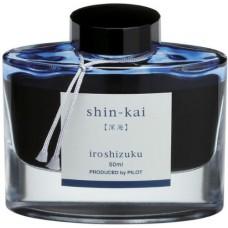 Namiki Iroshizuku Bottled Fountain Pen Ink, Shin-Kai, Deep Sea, Blue/Black