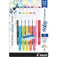 11452 Pilot FriXion Fineliner Erasable Marker Pens, Fine Point, Assorted Color Inks, 12-Pack