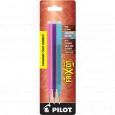 Pilot FriXion Refill, Fine Point, Asst, 3pk Pink/Purple/Turquoise