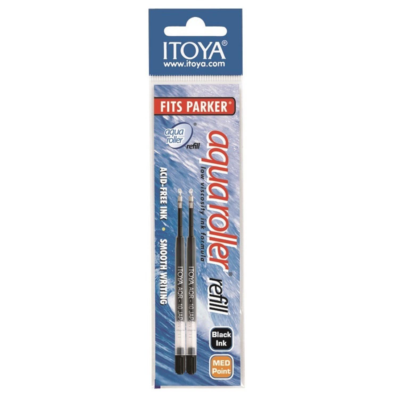 Itoya Aqua Roller Refill, 1.0mm, 2 pack, Black