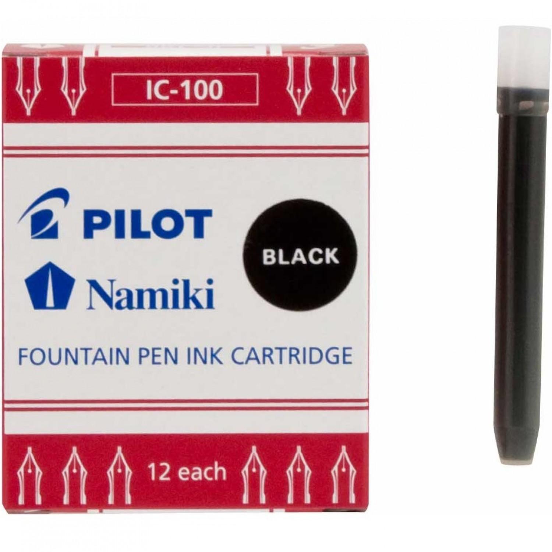 Namiki IC-100 Fountain Ink Cartridge, Black 12pk
