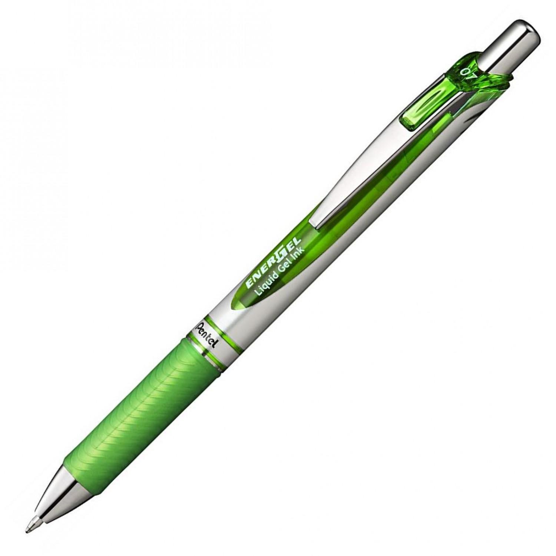 Pentel EnerGel Delux RTX Retract Refillable Liq Med Metal Tip3.19, Lime Green