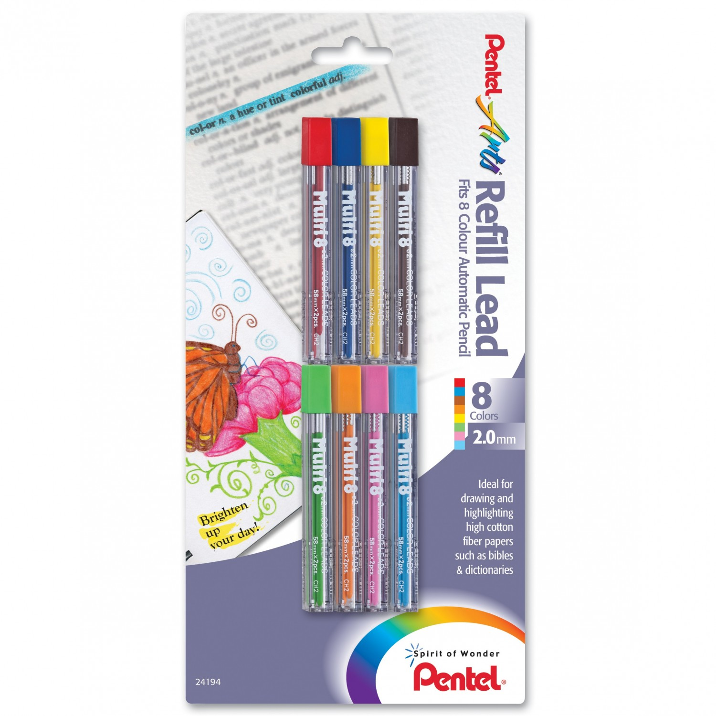 Pentel Arts 8 Color Refill Lead, Assorted Colors, 8 Pack