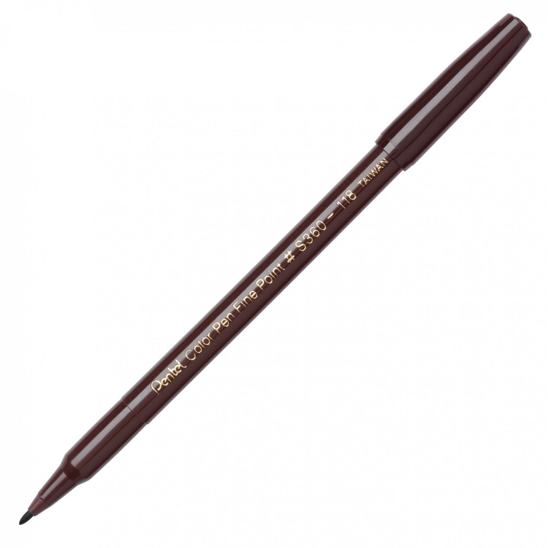 Pentel Color Pen, Fine Pt Dark Brown