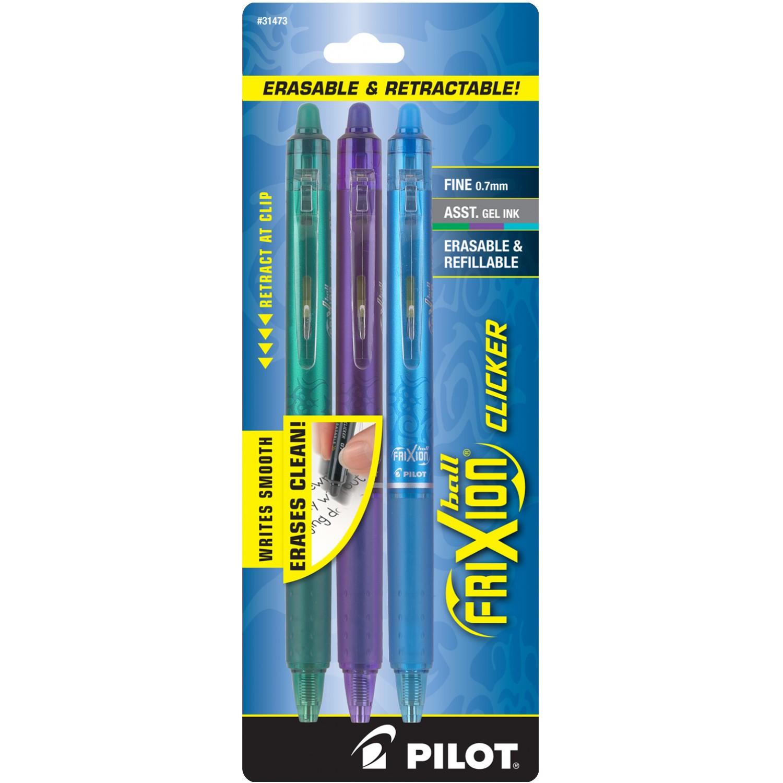 Pilot FriXion Clicker Retractable Erasable Gel Pens, FP, 3pk, Asst Colors