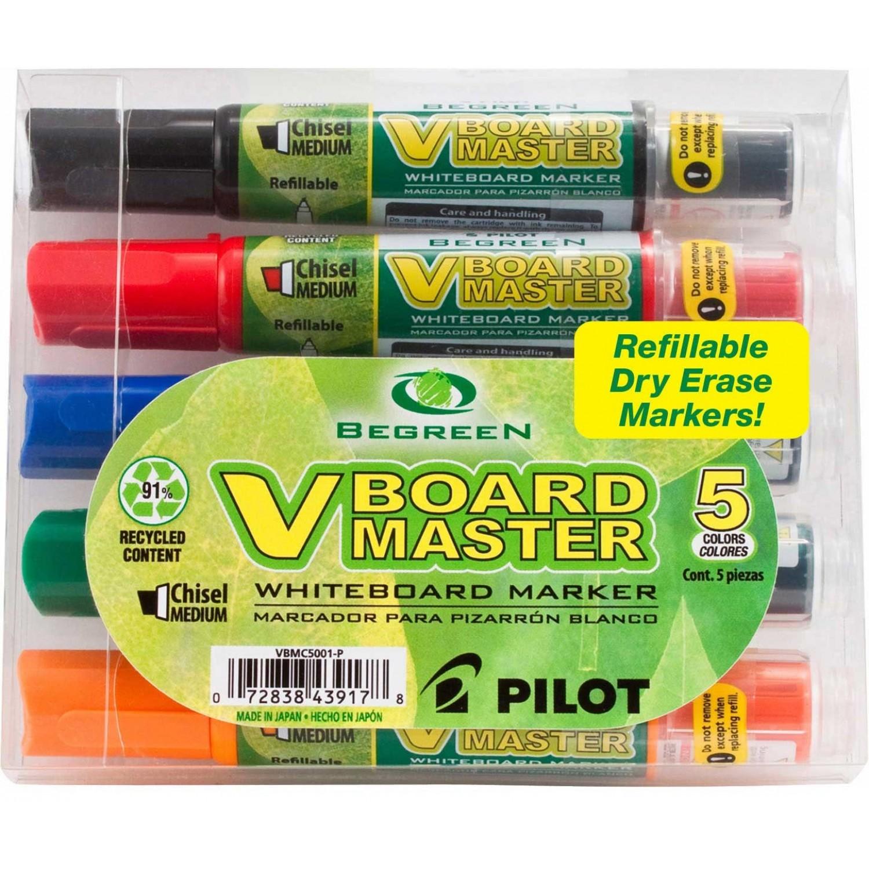 Pilot VBMC V-Board Master White Board Marker, 5 pack Chisel