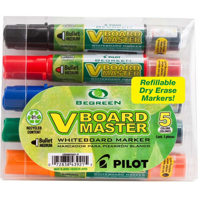 Pilot VBMC V-Board Master White Board Marker, 5 pack Bullet