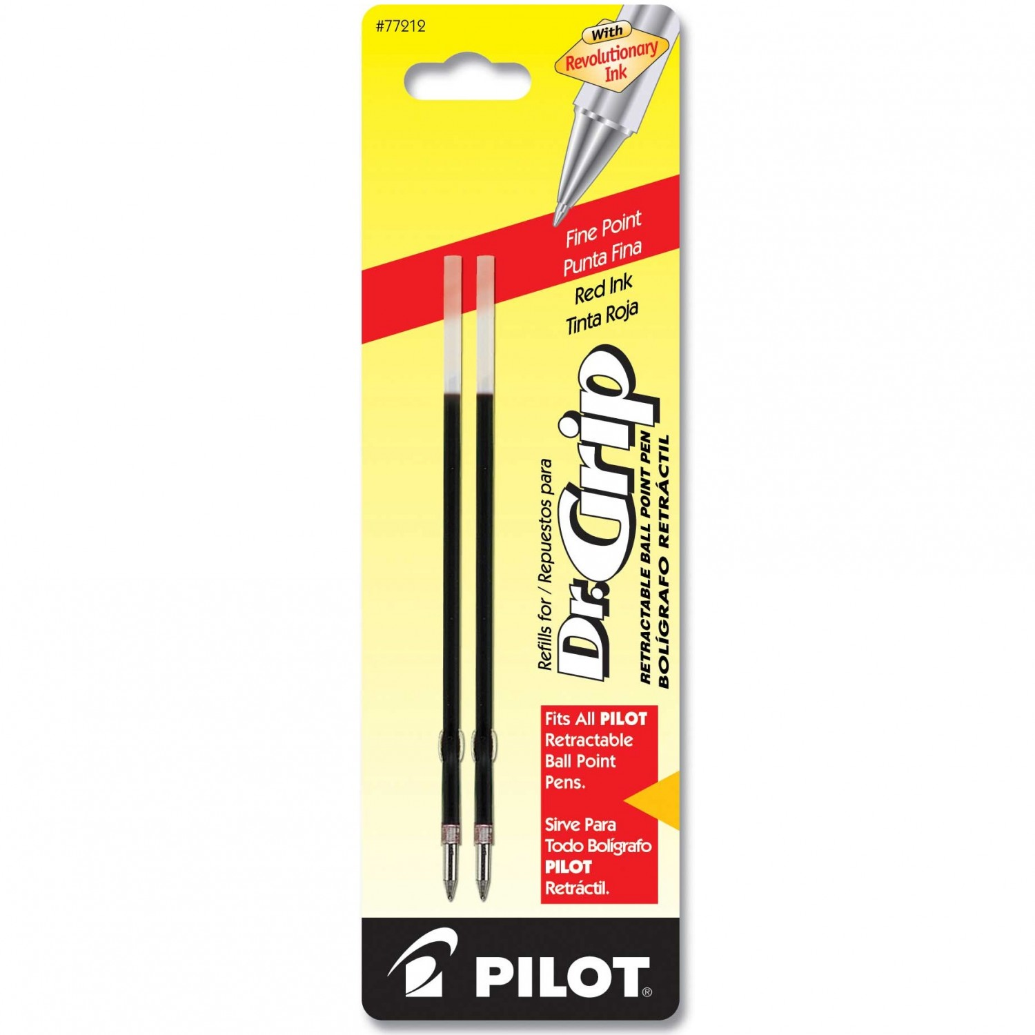 Pilot BRFS2 Dr. Grip Retractable Ball-Point Refill, Fine, Red