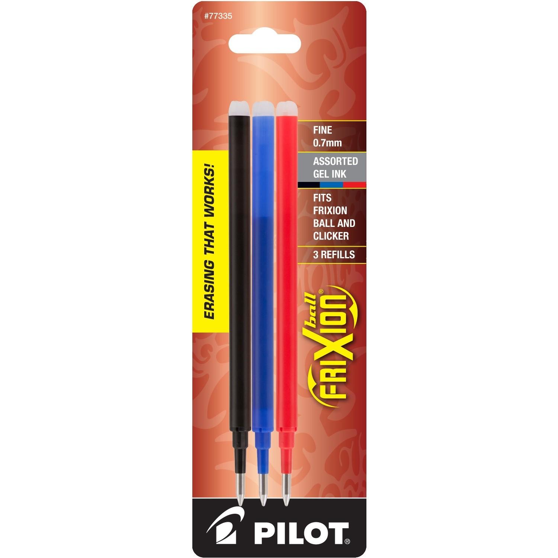Pilot FriXion Refill, Fine Point, Asst, 3pk Blk/Blu/Red