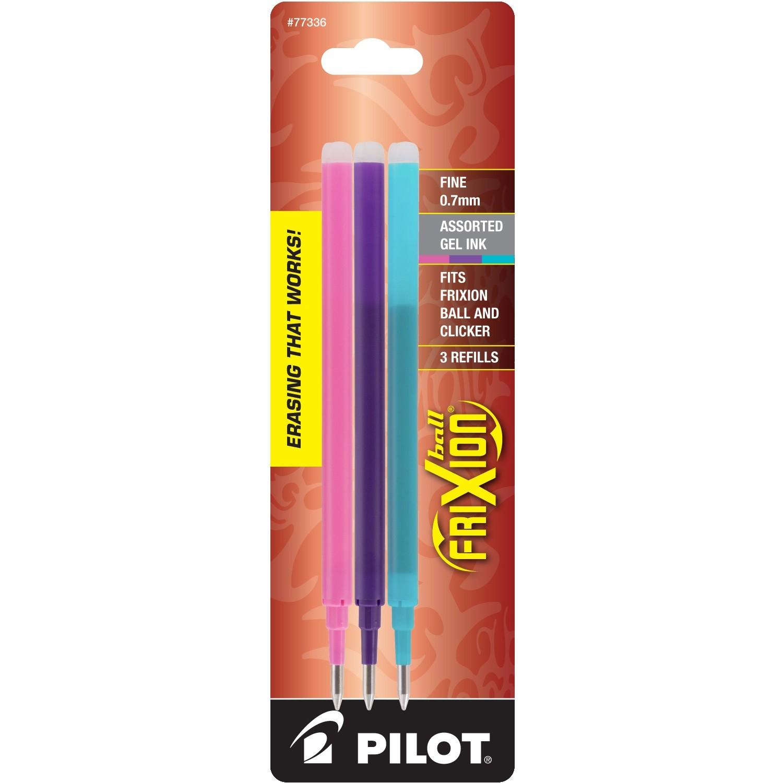 Pilot FriXion Refill, Fine Point, Asst, 3pk Pink/Purple/Turquoise