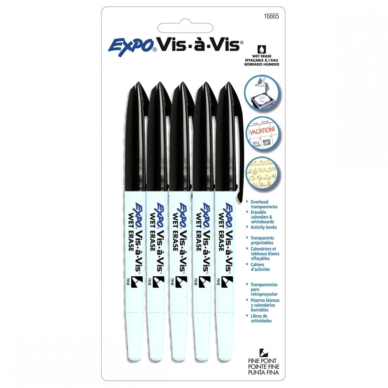 Expo Vis-A-Vis Transparency Marker, Fine, Black 5pk
